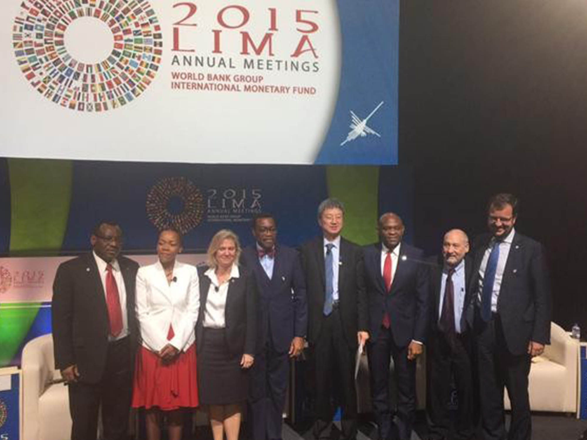 L-R: Claver Gatete, Minister for Finance and Economic Planning, Rwanda; Nikiwe Bikitsha, journalist and moderator of the panel; Magdalena Andersson, Minister for Finance, Sweden; Akinwumi Adesina, President, African Development Bank ; Tony O. Elumelu CON, Founder, Tony Elumelu Foundation and Chairman, Heirs Holdings; Joseph Stiglitz, Professor of Economics, Columbia University, Recipient of 2001 Nobel Memorial Prize in Economic Sciences; Min Zhu, Deputy Managing Director, IMF and Bertrand Badré, Managing Director and Chief Financial Officer, World Bank Group.