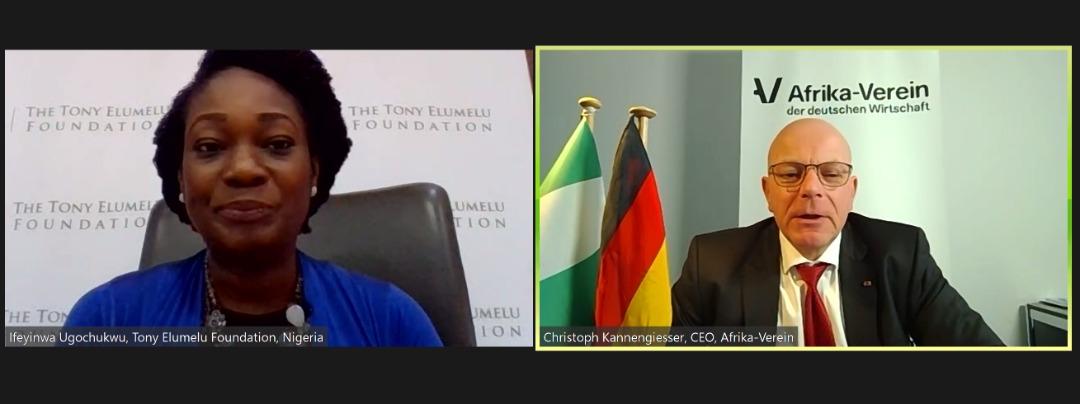 TEF CEO, Ifeyinwa Ugochukwu and Afrika-Verein CEO, Christopher Kannengiesser